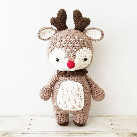 Crochet Reindeer Christmas Doll Toy Rudolph Infant Baby Toddler Toy Handmade Holiday Photography Photo Prop