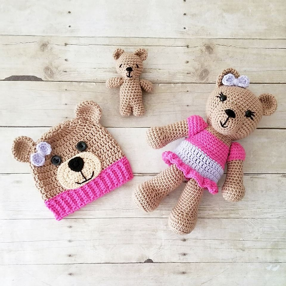 Crochet Teddy Bear Stuffed Animal Doll Toy Infant Newborn Baby Toddler Handmade Photography Photo Prop Baby Shower Gift Present