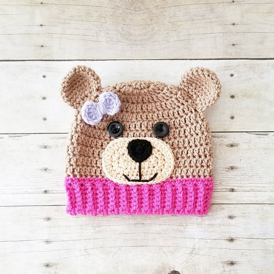 Crochet Teddy Bear Beanie Hat Infant Newborn Baby Toddler Child ... 1890ceaed2f