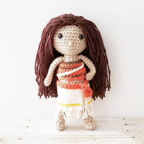 Crochet Moana Doll Toy Infant Baby Toddler Toy Disney Handmade Photography Prop Birthday Present Baby Shower Gift
