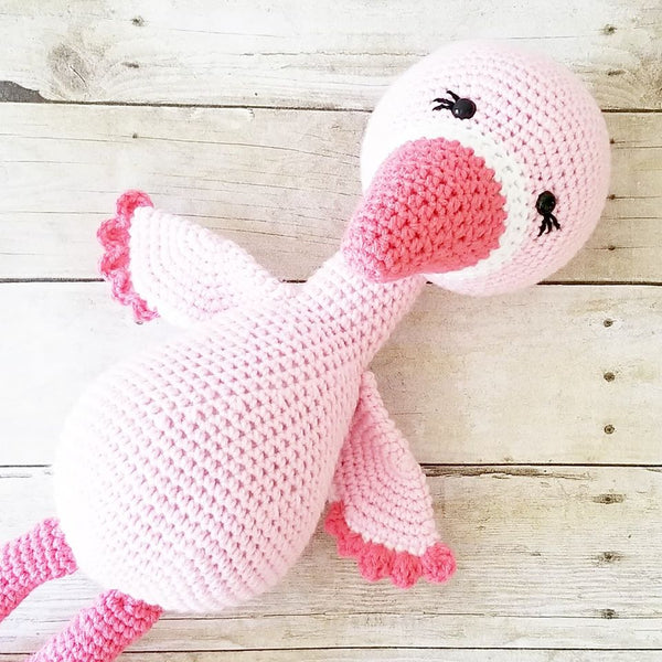 READY TO SHIP Crochet Flamingo Doll Toy Stuffed Animal Baby Infant Toddler Toy Handheld Learning Toy Nursery Decor Bedding Handmade Baby Shower Gift