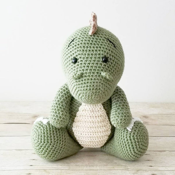 Crochet Dinosaur Doll Toy Stuffed Animal T-Rex Baby Infant Toddler Toy Handheld Learning Toy Nursery Decor Bedding Handmade Baby Shower Gift
