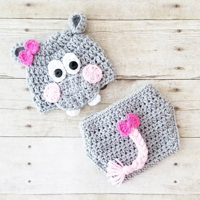 Crochet Baby Hippo Hat Beanie Diaper Cover Set Infant Newborn Baby Handmade Photography Photo Prop Baby Shower Gift - Red Lollipop Boutique
