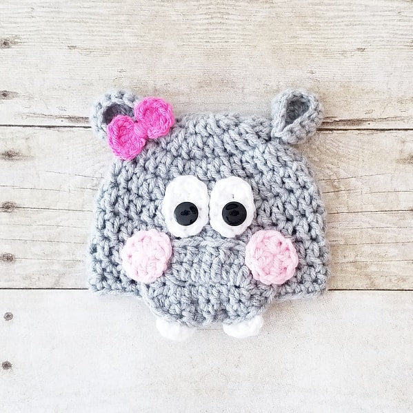 Crochet Baby Hippo Hat Beanie Infant Newborn Baby Handmade Photography Photo Prop Baby Shower Gift - Red Lollipop Boutique