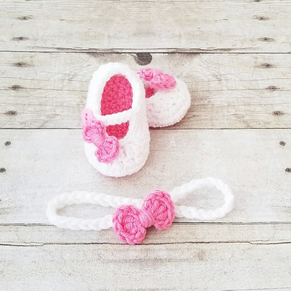 Crochet Baby Bow Shoes Headband Set Booties Mary Jane's Newborn Infant Accessories Footwear Handmade Baby Shower Gift - Red Lollipop Boutique