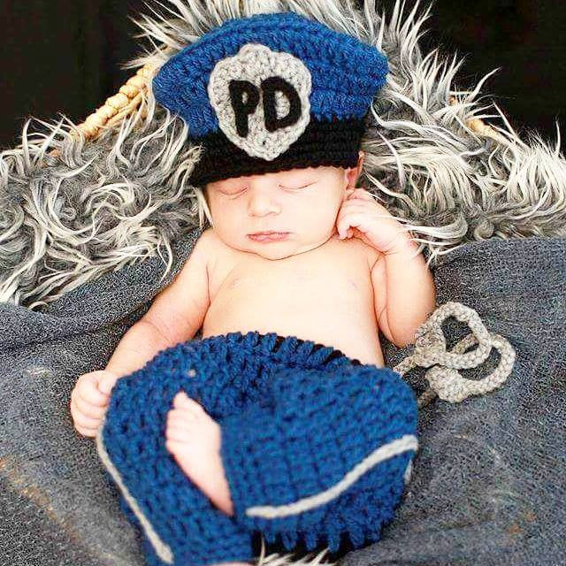 Crochet Baby Police Officer Set Law Enforcement Hat Beanie Pants Diaper Cover Hand Cuffs Infant Newborn Baby Handmade Photography Photo Prop Baby Shower Gift Present - Red Lollipop Boutique