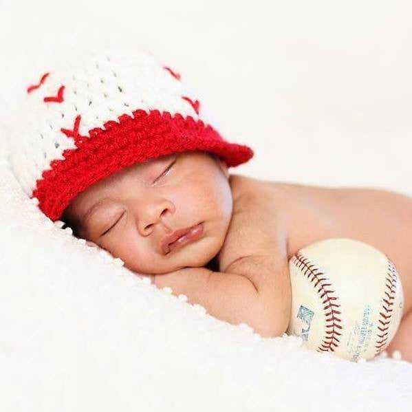 Crochet Baby Baseball Hat Newsboy Visor Beanie Red White Newborn Infant Toddler Child Adult Sports Photography Photo Prop Handmade Gift - Red Lollipop Boutique
