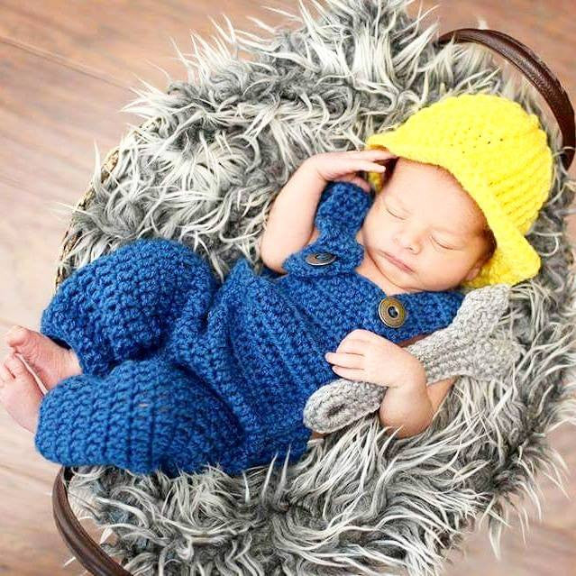 Crochet Baby Construction Worker Hat Set Overalls Pants Wrench Infant Newborn Baby Handmade Photography Photo Prop Baby Shower Gift Present - Red Lollipop Boutique