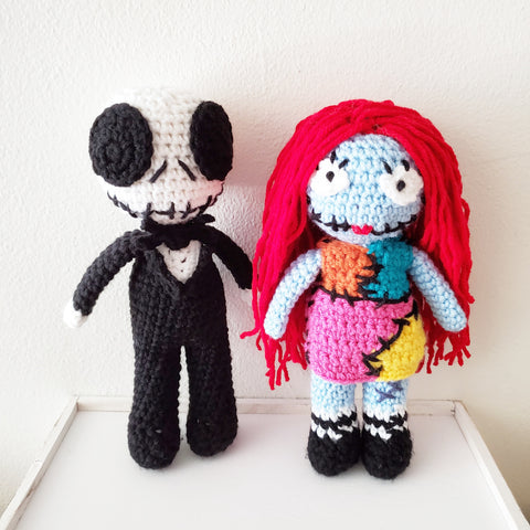 Crochet Jack and Sally Dolls Nightmare Before Christmas Toy Halloween Handmade