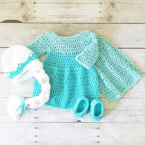 Crochet Baby Elsa Frozen Dress Shoes Booties Boots Beanie Set Newborn Photography Photo Prop Handmade Baby Shower Gift