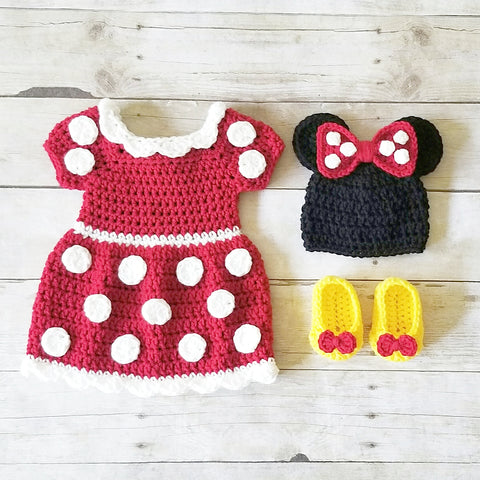 Crochet Baby Minnie Mouse Dress Shoes Booties Boots Beanie Set Newborn Photography Photo Prop Handmade Baby Shower Gift