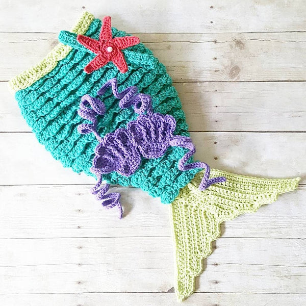 Crochet Baby Mermaid Tail Set Ariel Disney Inspired Newborn Infant Photography Photo Prop Costume Handmade Baby Shower Gift - Red Lollipop Boutique