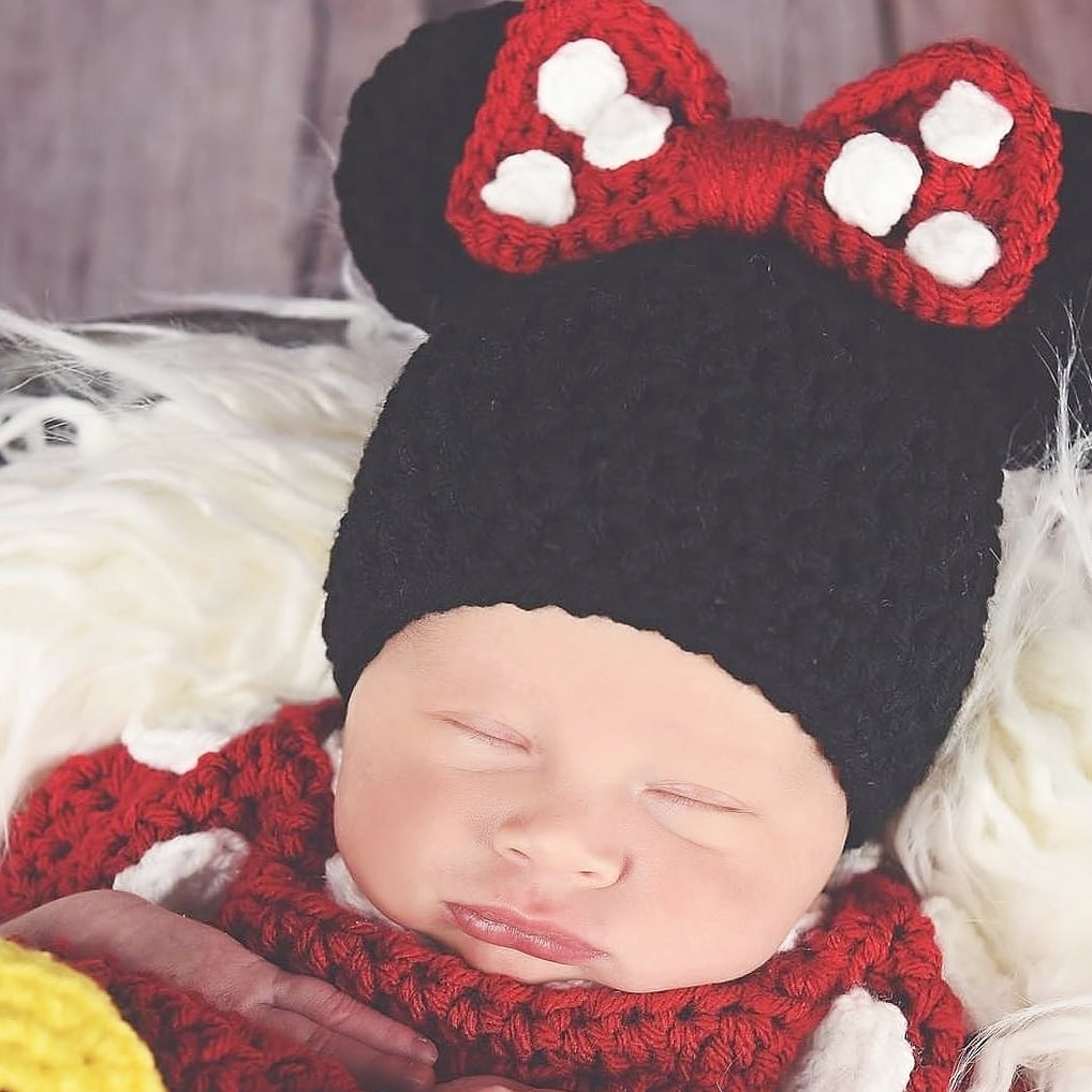 Crochet Baby Minnie Mouse Beanie Hat Infant Newborn Baby Toddler Child Adult Photography Photo Prop Handmade Baby Shower Gift - Red Lollipop Boutique