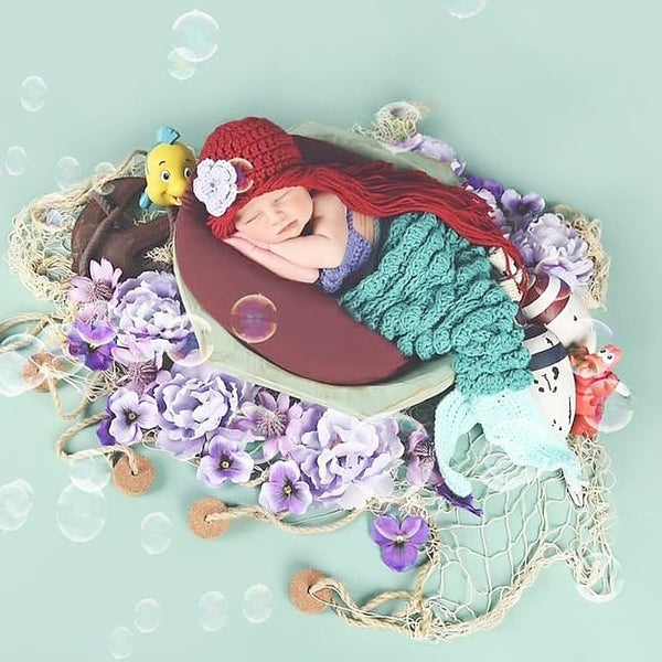 Crochet Ariel Hat Beanie Hair Wig Little Mermaid Infant Newborn Baby Toddler Child Girl Flower Handmade Photography Photo Prop - Red Lollipop Boutique