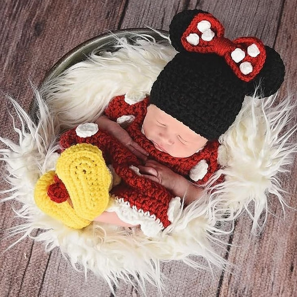 Crochet Baby Minnie Mouse Dress Shoes Booties Boots Beanie Set Newborn Photography Photo Prop Handmade Baby Shower Gift - Red Lollipop Boutique