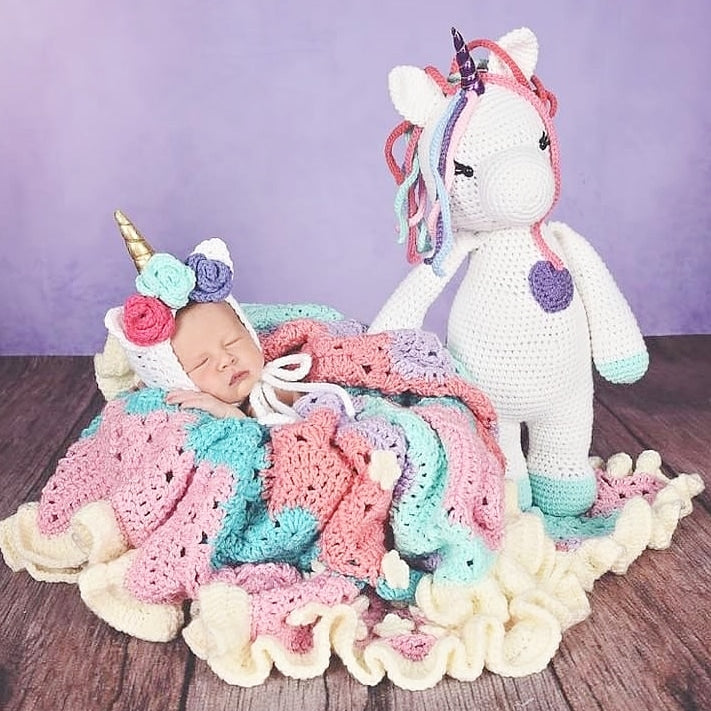 5d04c76f70c Crochet Unicorn Doll Toy Stuffed Animal Rainbow Handmade Toddler Girl – Red  Lollipop Boutique