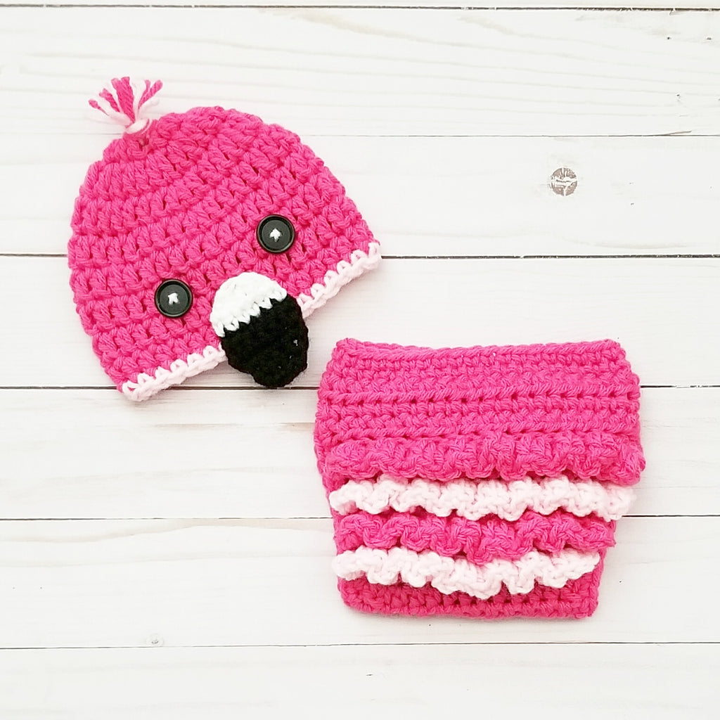 Crochet Baby Flamingo Hat Beanie Ruffle Diaper Cover Set Infant Newborn Baby Handmade Photography Photo Prop Baby Shower Gift - Red Lollipop Boutique