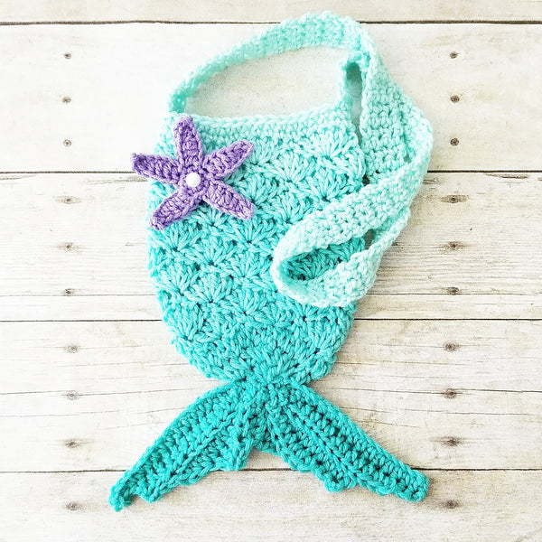 Crochet Mermaid Purse Ombre Girl's Accessory Toddler Child Handmade Mermaid Tail