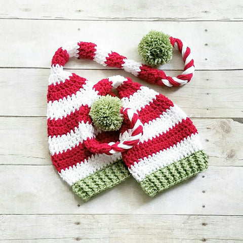 Crochet Christmas Striped Beanie Hat Stocking Cap Holiday Baby Infant Newborn Toddler Child Adult Handmade Baby Shower Gift Photography Photo Prop Winter Accessory - Red Lollipop Boutique