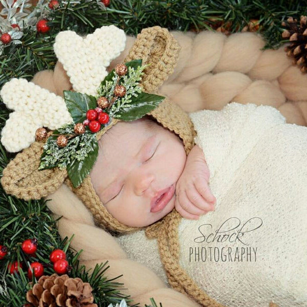 Crochet Reindeer Deer Blitzen Bonnet Hat Beanie Christmas Winter Accessory Newborn Baby Infant Toddler Child Handmade Baby Shower Gift Present