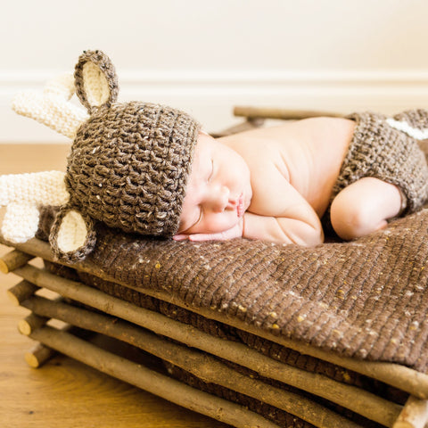 Crochet Baby Deer Hat Beanie Diaper Cover Set Antlers Infant Newborn Baby Handmade Photography Photo Prop Baby Shower Gift Present - Red Lollipop Boutique