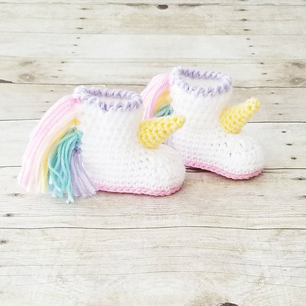 Crochet Baby Unicorn Shoes Boots Bootsies Slippers Infant Newborn Baby Handmade Baby Shower Gift Present - Red Lollipop Boutique