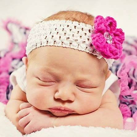 Crochet Simple Flower Rhinestone Headband Newborn Baby Infant Toddler Child Photography Photo Prop Handmade Baby Shower Gift - Red Lollipop Boutique