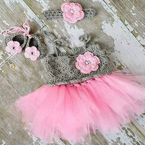 Crochet Baby Tutu Dress Flower Shoes Headband Set Newborn Baby Infant Photography Photo Prop Baby Shower Gift - Red Lollipop Boutique