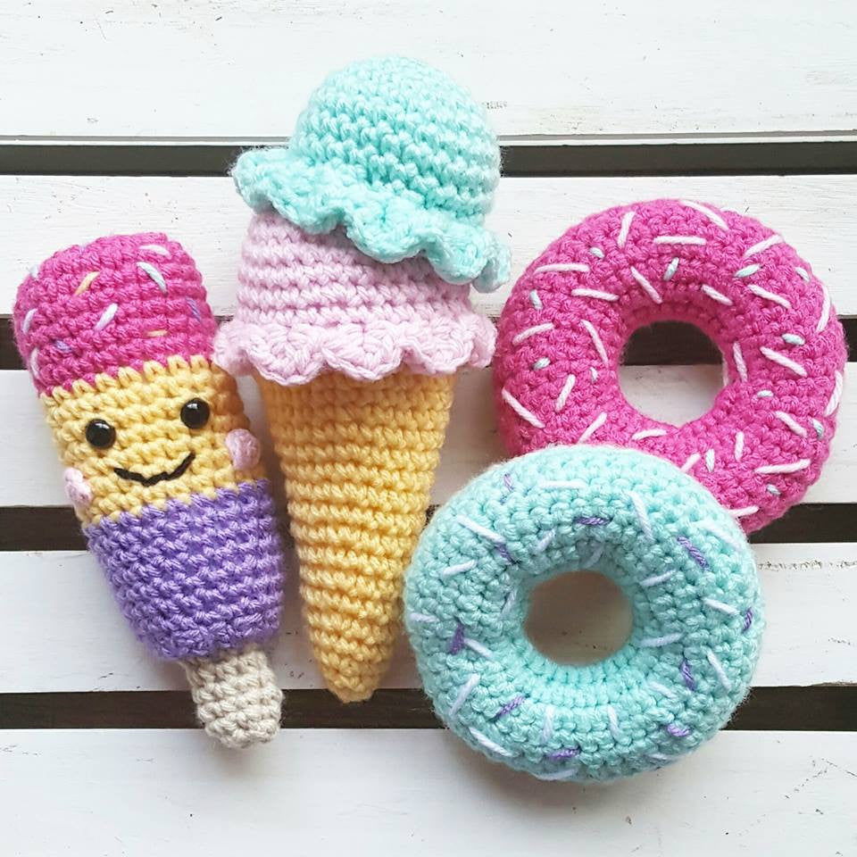 Crochet Ice Cream Cone Popsicle Donut Desert Play Food Toys Baby Infant Toddler Visual Learning Play Plushy Handmade - Red Lollipop Boutique