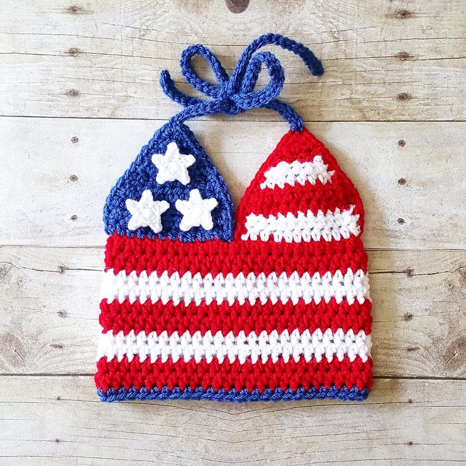 Crochet 4th of July American Flag Halter Top Tank Top Baby Infant Toddler Child Independence Day Photography Photo Prop Handmade - Red Lollipop Boutique