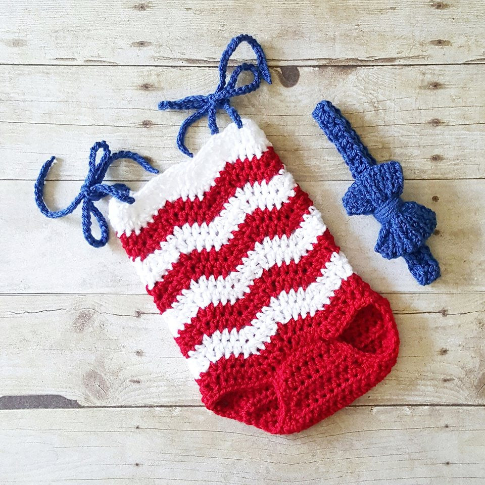 Crochet Baby 4th of July Chevron Romper Bow Headband Set Striped Zigzag Red White Blue American Flag Independence Day Newborn Baby Infant Toddler Photography Photo Prop Baby Shower Gift Handmade - Red Lollipop Boutique
