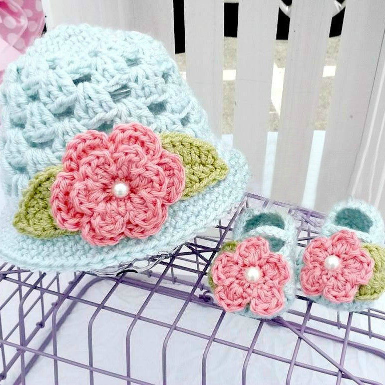 Crochet Baby Flower Sun Hat and Flower Shoes Set Newborn Infant Spring Summer Handmade Baby Shower Gift Photography Photo Prop - Red Lollipop Boutique