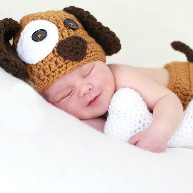 Crochet Baby Puppy Dog Beanie Hat Diaper Cover Bone Set Infant Newborn Baby Handmade Photography Photo Prop Baby Shower Gift Present