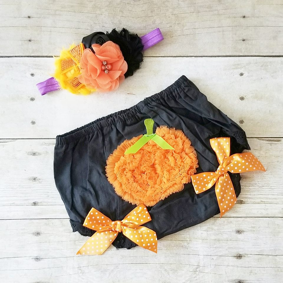 READY TO SHIP 6-12 Months Baby Halloween Bloomers Flower Headband Set
