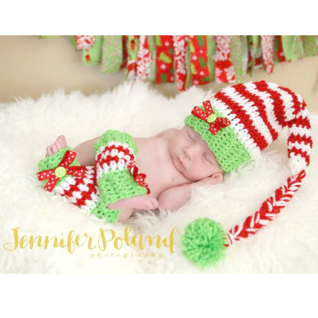 Crochet Bow Striped Christmas Stocking Cap Beanie Hat Legwarmers Set Newborn Baby Infant Toddler Handmade Photography Photo Prop Baby Shower Gift - Red Lollipop Boutique