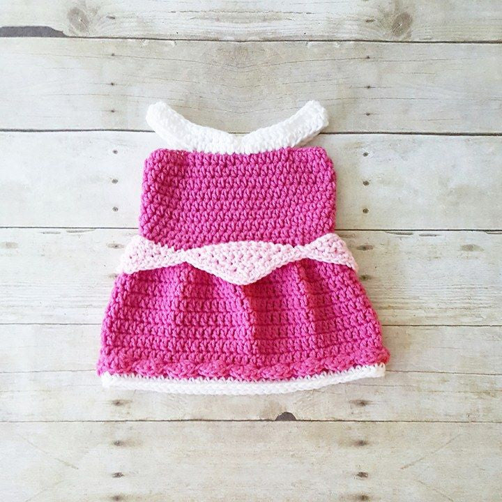 Crochet Baby Sleeping Beauty Aurora Inspired Dress Costume Dress Up Handmade Disney Inspired Baby Shower Gift Photography Photo Prop - Red Lollipop Boutique
