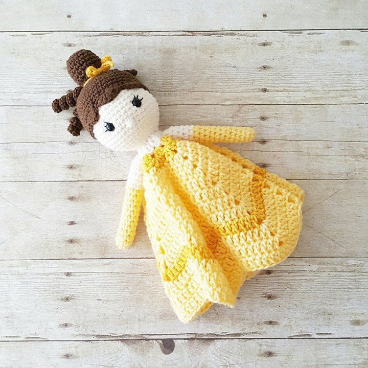 Crochet Princess Lovey Security Blanket Plush Doll Stuffed Toy