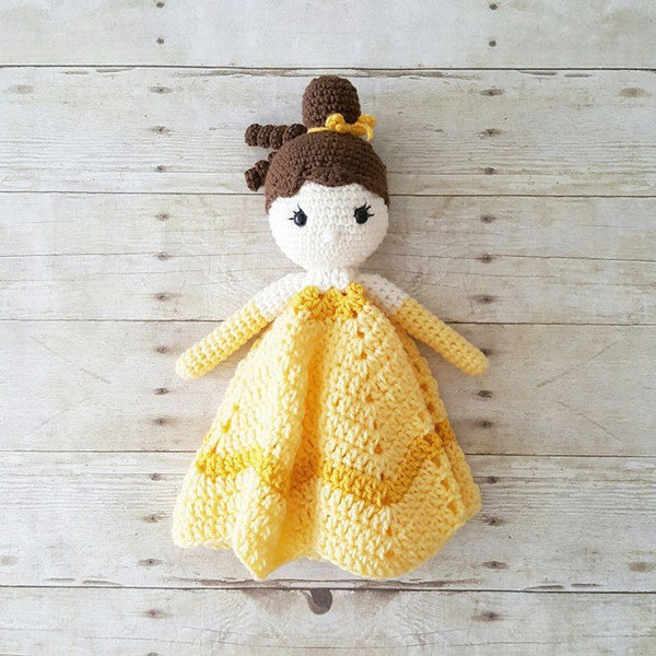 Crochet Princess Lovey Security Blanket Plush Doll Stuffed Toy Amigurumi Belle Frozen Tinkerbell Cinderella Snow White Ariel Mermaid Jasmine