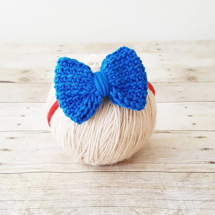 Crochet 4th of July Bow Headband Hair Accessory Newborn Infant Baby Toddler Child Adult Nylon Headband One Size Photography Photo Prop Gift