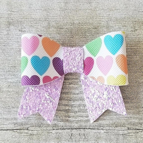 Rainbow Hearts Glitter Bow Clip Headband Faux Leather Baby Girl Toddler Hair Accessory Handmade