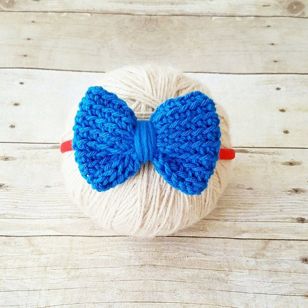 Crochet 4th of July Bow Headband Hair Accessory Newborn Infant Baby Toddler Child Adult Nylon Headband One Size Photography Photo Prop Gift - Red Lollipop Boutique