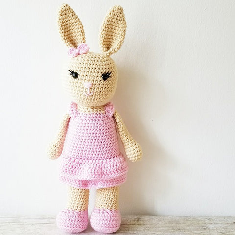 Crochet Bunny Rabbit Stuffed Animal Doll Toy Girl Dress Skirt Handmade Infant Toddler Baby Nursery Decor Bedding Baby Shower Gift Photography Photo Prop - Red Lollipop Boutique