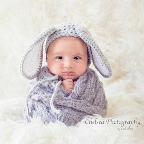 Crochet Baby Floppy Bunny Rabbit Bonnet Hat Beanie Infant Newborn Baby Easter Spring Handmade Photography Photo Prop Baby Shower Gift Present - Red Lollipop Boutique