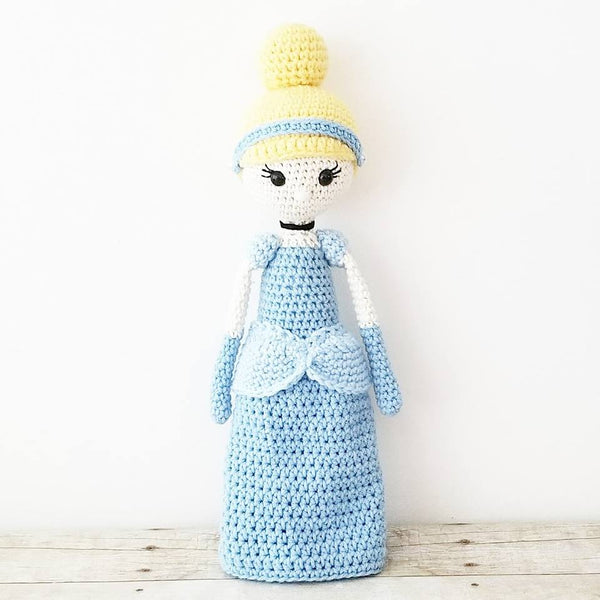 Crochet Cinderella Doll Toy Baby Infant Toddler Girl Nursery Bedroom Decor Decoration Theme Photography Photo Prop - Red Lollipop Boutique