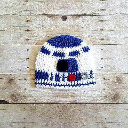 Crochet Baby R2D2 Hat Beanie Star Wars Newborn Infant Toddler Child Adult Costume Photography Photo Prop - Red Lollipop Boutique