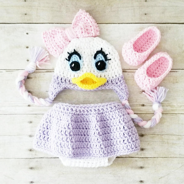 Crochet Baby Daisy Duck Hat Shorts Diaper Cover Shoes Booties Boots Beanie Set Newborn Photography Photo Prop Handmade Baby Shower Gift - Red Lollipop Boutique