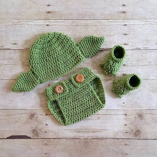 Crochet Baby Yoda Hat Beanie Diaper Cover Shoes Slippers Booties Set Star Wars Newborn Infant Photography Photo Prop Handmade Baby Shower