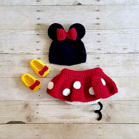 Crochet Baby Minnie Mouse Hat Shorts Diaper Cover Shoes Booties Boots Beanie Set Newborn Photography Photo Prop Handmade Baby Shower Gift - Red Lollipop Boutique