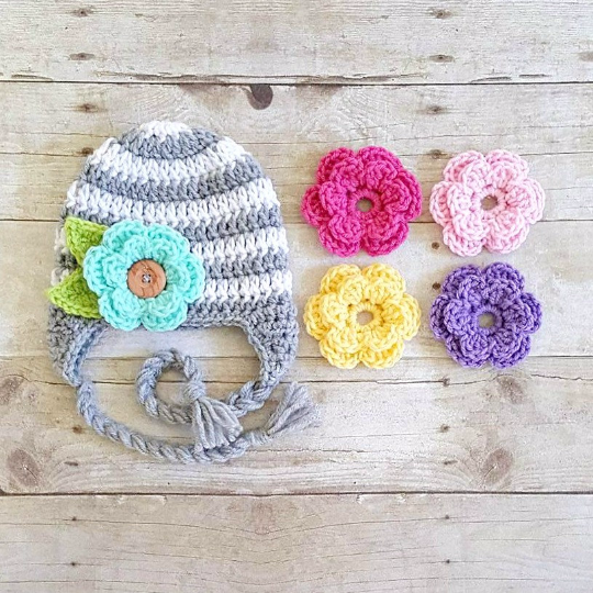 Crochet Striped Detachable Interchangeable Flower Beanie Hat Newborn Baby Infant Toddler Child Adult Handmade Photography Photo Prop - Red Lollipop Boutique