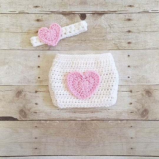 Crochet Baby Heart Diaper Cover Headband Set Infant Newborn Baby Handmade Photography Photo Prop Baby Shower Gift Present Valentine's Day